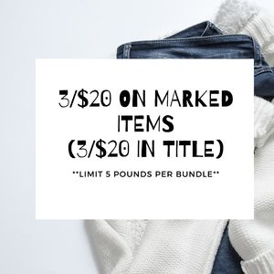 3/$20 Sale On Marked Items